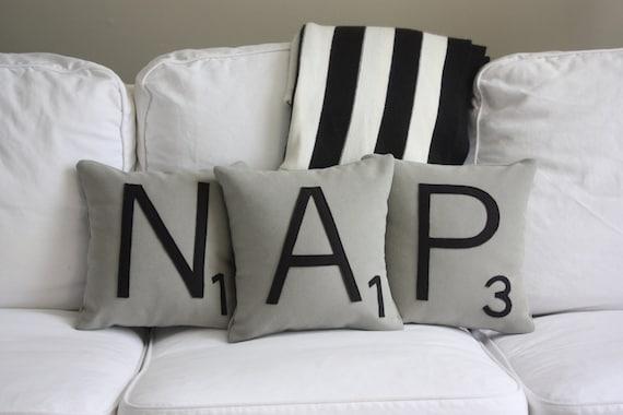 NAP Scrabble Pillows CASES ONLY // Scrabble Tile Pillows // | Etsy