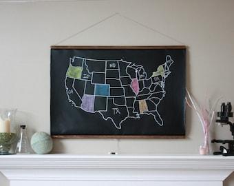 Chalkboard United States Map -- LARGE SIZE // USA Map // Classroom Decor // Homeschool Teacher // Adventure Map // Travel // Farmhouse