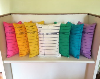 Library Card Pillows // Librarian Gift // Reading // Book Lover // Bookish // Bibliophile // Reader // Bookworm // Best Selling Item