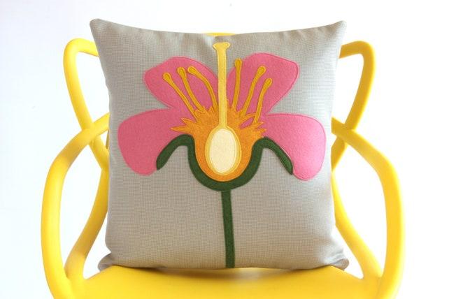 Science Diagram Pillow Flower Anatomy / Flower Pillow / | Etsy