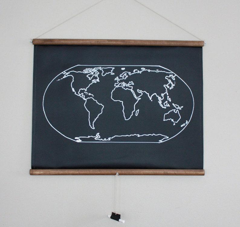 Chalkboard World Map  SMALL SIZE // Travel Map // Geography image 0