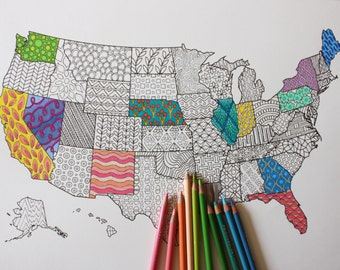 Printable Coloring Page / United States Map / Adult Coloring / Adult Coloring Page / Travel Map / Coloring Book / USA / US Map / Road Trip