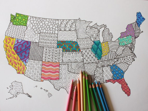 Printable Coloring Page United States Map Adult