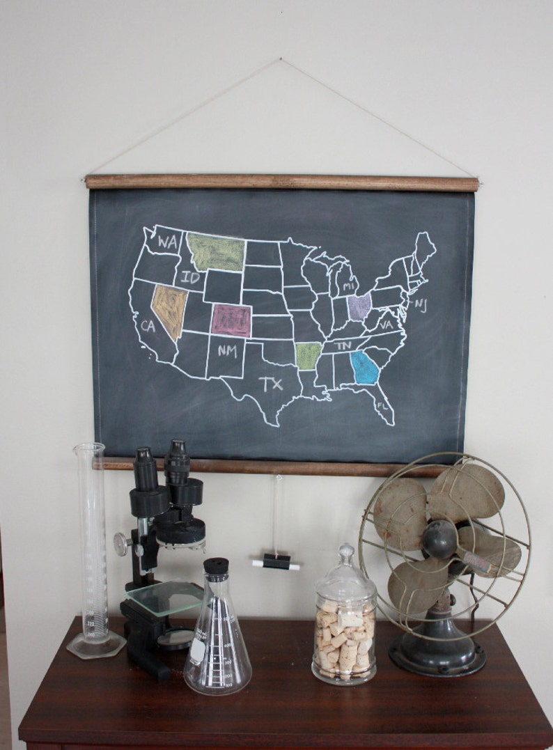 Chalkboard United States Map Small Size Travel Theme Nursery Etsy