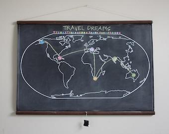 Chalkboard World Map - LARGE SIZE // Travel // World Map // Large World Map // World // Rustic Nursery // Kids Room Decor // World Map Print