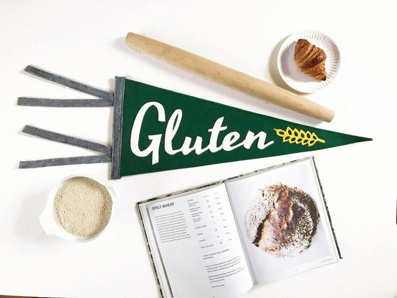 Favorite Food Felt Pennant - Gluten / Bread Lover / Carbs / Carb Life /  Carbivore / Pro Gluten / Baking / Baker Gift / Bread Baker