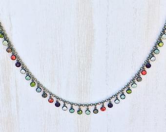 Swarovski Channel Drop Necklace / Multi-Color / Vintage / Antique Brass