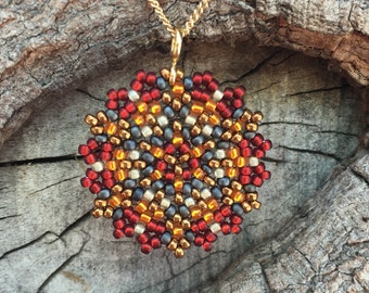 Single Mandala Necklace / Bead Woven Japanese Glass Beads / Gold-Filled Chain / Fiery Red and Orange / Bold - - - Delilah