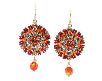 Single Mandala Beaded Earrings / Fiery Orange / Vivid Red / Bold / Modern --- Delilah