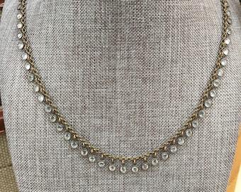 Vintage Swarovski Channel Drop Necklace / Clear Crystals / Versatile / Solid Antique Brass / Soft Bronze