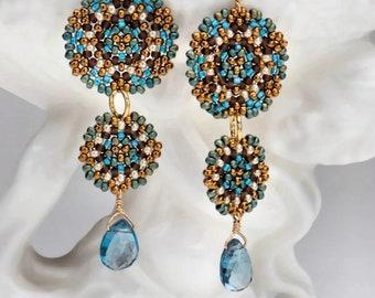 Beadwoven Double Mandala Earrings/London Blue Topaz Drops/Gold-Filled Earwires/Intricate Geometry/Temari Design/Lightweight - - - Maren