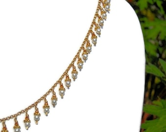 Dancing Pearl Necklace / Natural White Seed Pearls / Coppery Swarovski Crystals / Gold-Filled Chain / Artisan / Delicate - - - Quella
