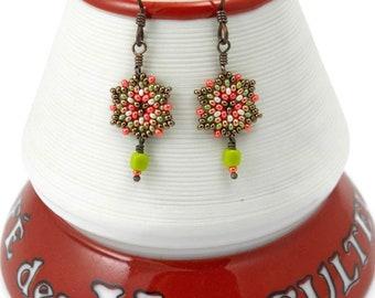 Beaded Mini Mandala Earrings/Chartreuse Cube Beads / Hypoallergenic Earrings / Small Colorful Earrings / Petite / Vibrant Flower - - - Meika