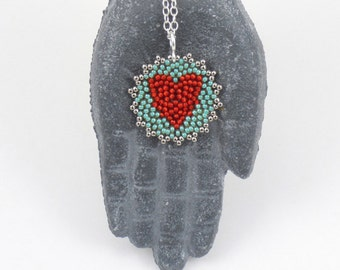 Beaded Heart Mandala Necklace (vibrant red / seafoam green)/ Bridesmaids Gift/Anniversary Gift/Love Token for Her- - - sterling silver chain