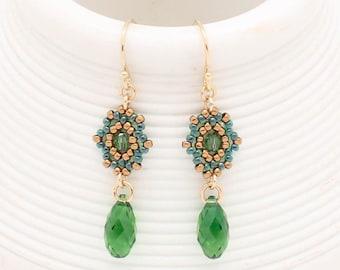 Festive Earrings / Verdant Green / Holiday Earrings / Lush Green - - - Beata