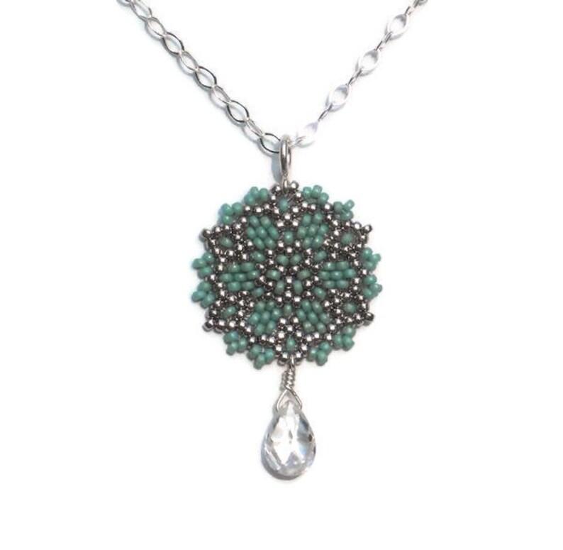 a939a36c6 Beadwoven Single Mandala Necklace / Clear Cubic Zirconia Drop   Etsy