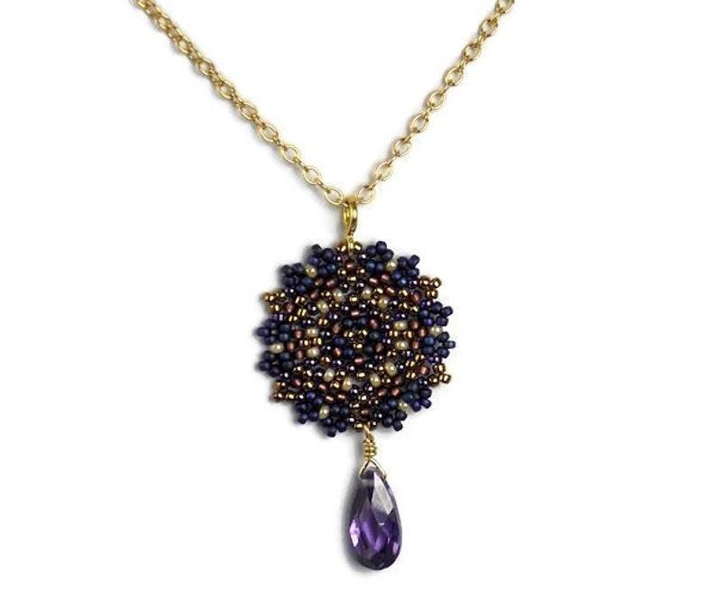 d313d341c Beadwoven Single Mandala Necklace / Amethyst Cubic Zirconia   Etsy