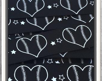 Baseball Hearts in White ink on Black GG 5 yds TWRH