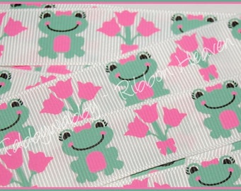 "7/8""  M2MG Bright Tulip Frog Grosgrain Ribbon 5 Yards - TWRH"