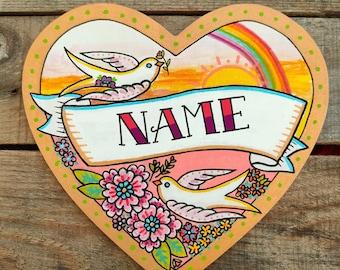 Personalised Name Door Sign   Children's Room Girl Rainbow Nursery   Girls Room