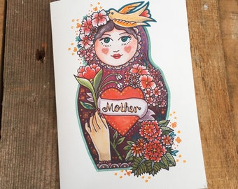 Mother Birthday Card, Mother's Day Card - Mother Russian Doll Art Greeting Card - Matryoshka Doll