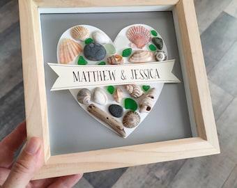 Personalised Seashell Art Mosaic   Beach Wedding Gift   Beachcomber Art   Beach Art UK Seashells and Driftwood