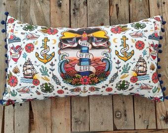 Light Of My Life Cushion   Lighthouse Nautical Sailor Tattoo Flash Throw Pillow   Swallows, Boat, Anchor Beach Decor