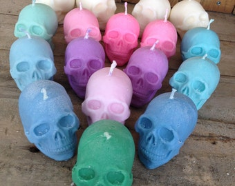 Skull Candle Gift | Colourful Scented Skull Candle Gifts | Gothic Soy Skull Candle in Gift Box | Custom Choose a colour - Choose your scent
