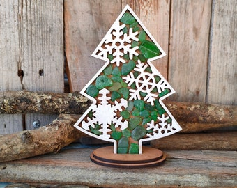 Christmas Tree Ornament with Snowflakes made of wood and seaglass   Rustic Christmas Gift