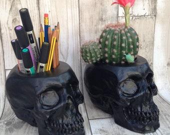 Large Skull Desk Tidy, Plant Pot, Skull Planter | Human Skull Cool Cactus, Succulent Pot