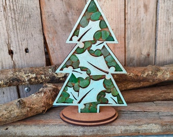 Christmas Tree Ornament with Holly Leaves made of wood and seaglass   Rustic Christmas Gift