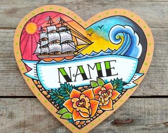 Personalised Name Door Sign   Children's Room Nautical Nursery   Boys Pirate Room