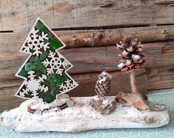 Snowy Christmas Tree Centrepiece   Seaglass, Driftwood, Pinecones Christmas Ornament  