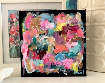 Joyspotting Original Acrylic Painting on Canvas 20cm x 20cm Abstract Expressionist