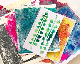 Original Gelli Art Prints - Monoprint Ideal for Collage, Art Journalling, Mixed Media and More Set of 14 Sheets