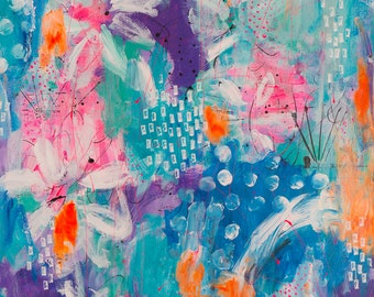 Tropical Oasis Original Painting, Abstract Art, Painted Canvas, Interiors, Home Styling, Wall Decor 61cm w x 76cm h x 3.5cm d
