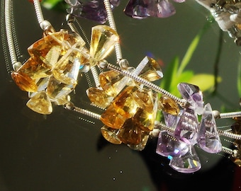 AAA Ametrine Fancy Facet Briolettes - 1 -29 Gemstone Strand PLUS 7 Extra Loose STones - 35 Carats Total Weight - SALE - Was 80.00 - Rich