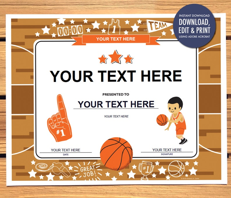 photograph about Printable Basketball Certificates titled Instantaneous Obtain Basketball Award Certification, Editable, PDF Fast Obtain Printable, Basketball, Certificates, 8.5\