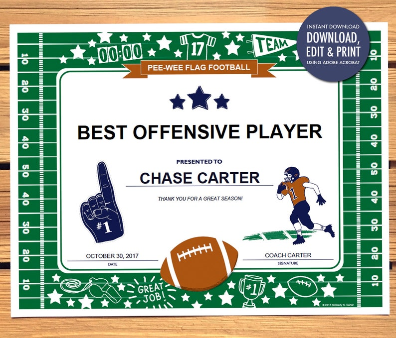 Instant Download Football Award Certificate Editable Pdf Etsy