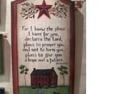 Jeremiah 29 11 plaque folk art primitive design on a wood plaque