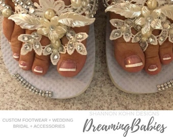 40a673763 Olivia Ivory Lace Bridal Flip Flops