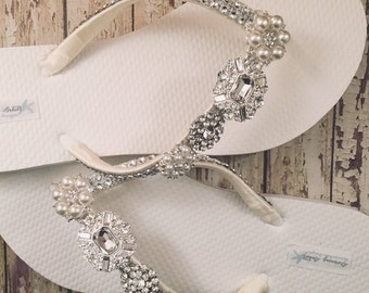 922323fc579245 Jordan Rhinestone Bridal Flip Flops