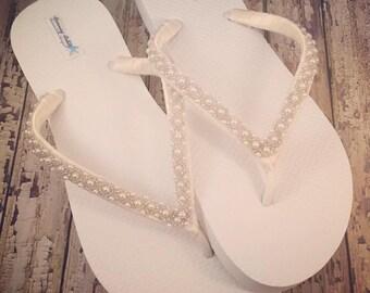 addf660b500998 Emma Bridal Flip Flops Custom Flip Flops Dancing Shoes Beaded Bridal  Sandals Wedding Flip Flops Beach Wedding Bridal Shoes READY TO SHIP