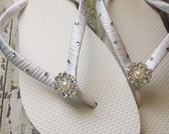 a5cd06cf055e66 Kristin Scattered Rhinestone Bridal Flip Flops
