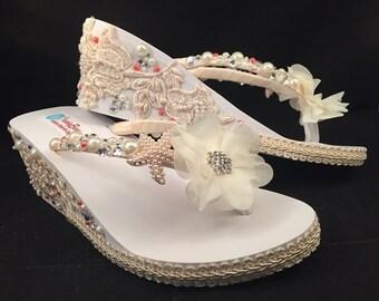 WEDGE Wedding Flip Flops Bridal Wedge Flip Flops Pearl | Etsy