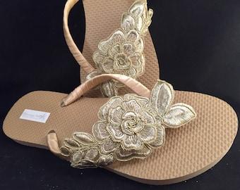 a1a1e474daaae3 Gold Bridal Flip Flops Gold Floral Custom Flip Flops Gold Beige Dancing  Shoes Bridal Sandals Wedding Flip Flops Beach Wedding Shoes
