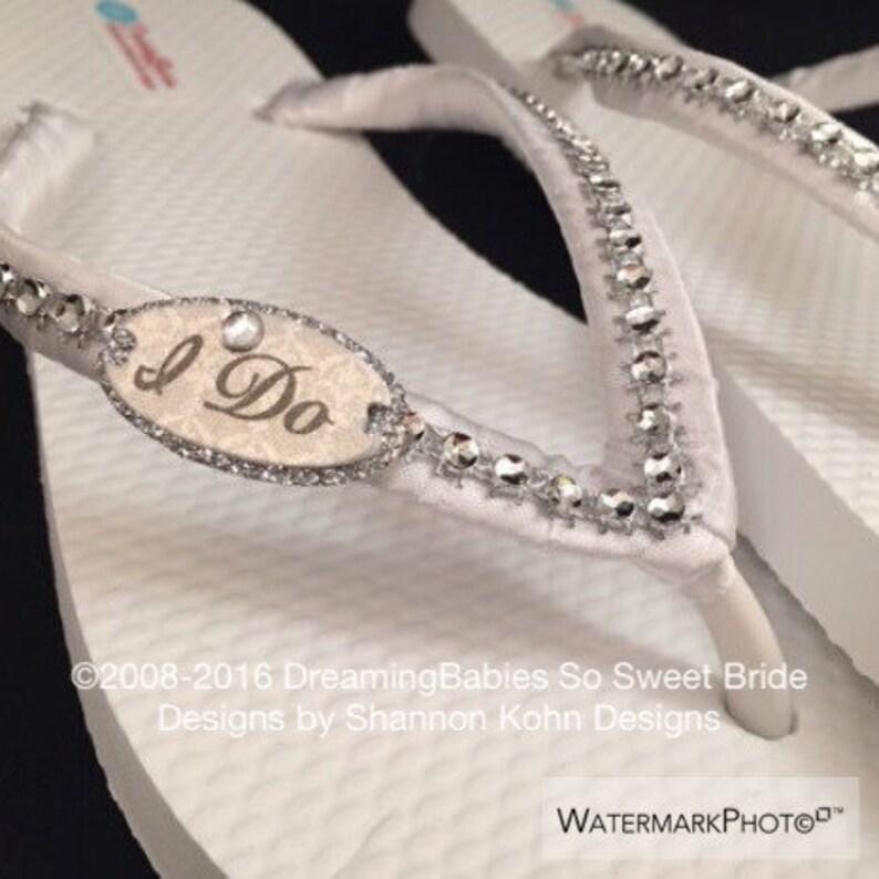 aea6cff51 I Do Bridal Flip Flops Custom White Wedding Flip Flops I Do