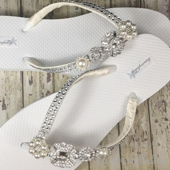 Rhinestone Bridal Flip Flops, Custom Crystal Shoes, Jordan Bling Bride Sandals for Destination Wedding Shoes Custom Color Your Choice
