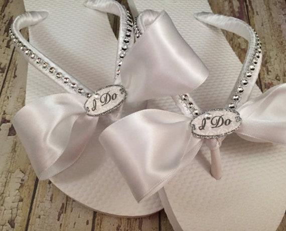 7a596d667 I Do Bridal Flip Flops Custom White Sandals for Destination