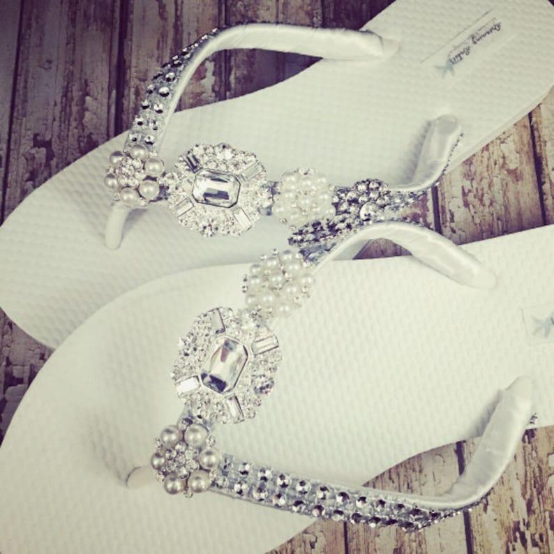 5cdff9683f252 Jordan Rhinestone Bridal Flip Flops Custom Crystal Bling